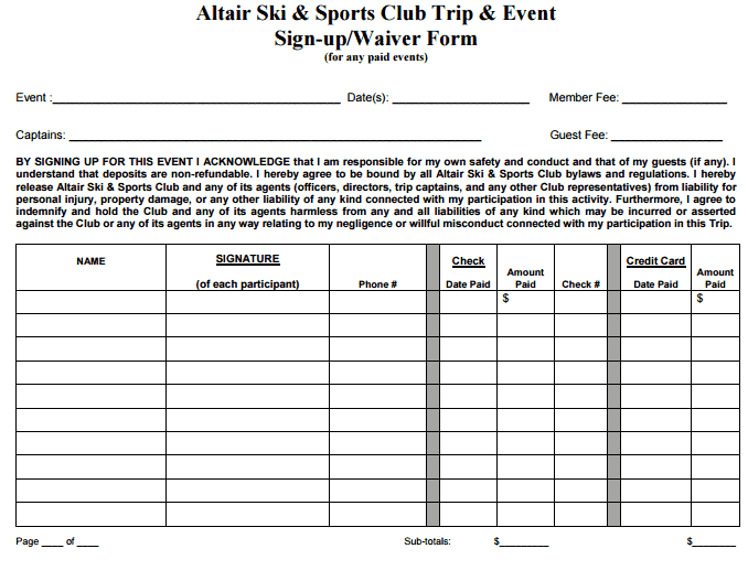 4 sports sign up sheet templates word templates