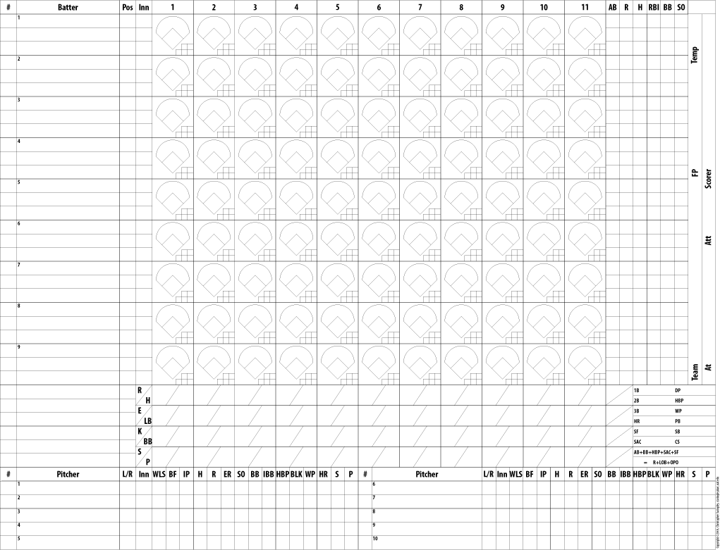 Massif image with printable baseball scorecard with pitch count