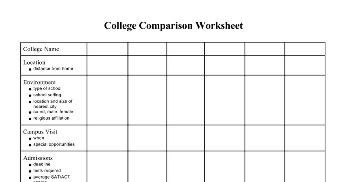 6  college comparison worksheets  u2013 word templates