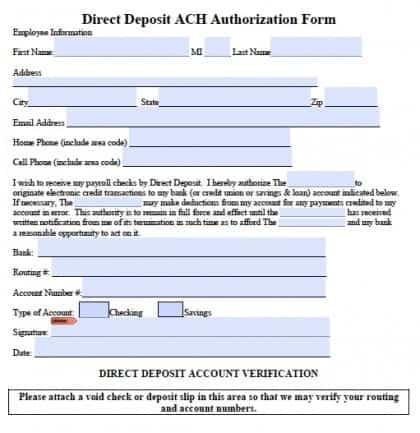 6 Direct Deposit Forms Word Templates