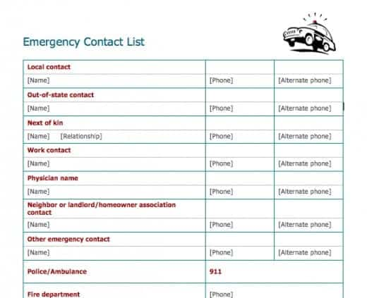5 Emergency Contact List Templates Word Templates