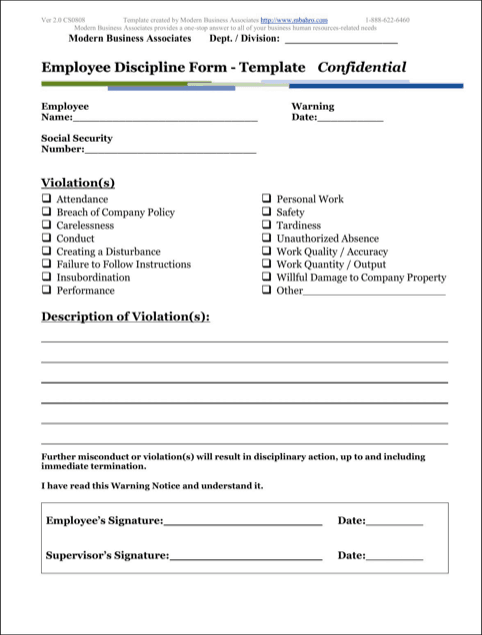 write up forms for employee