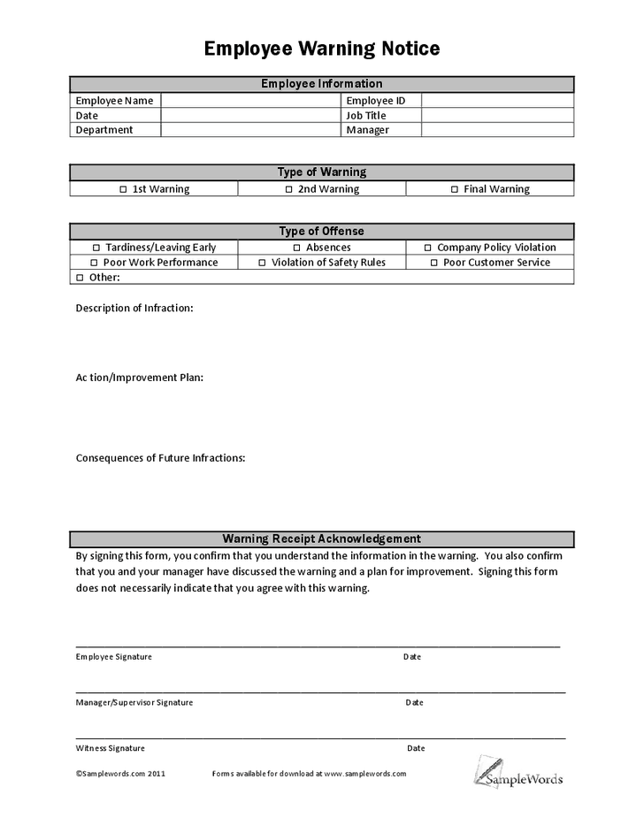 5  employee write up forms  u2013 word templates