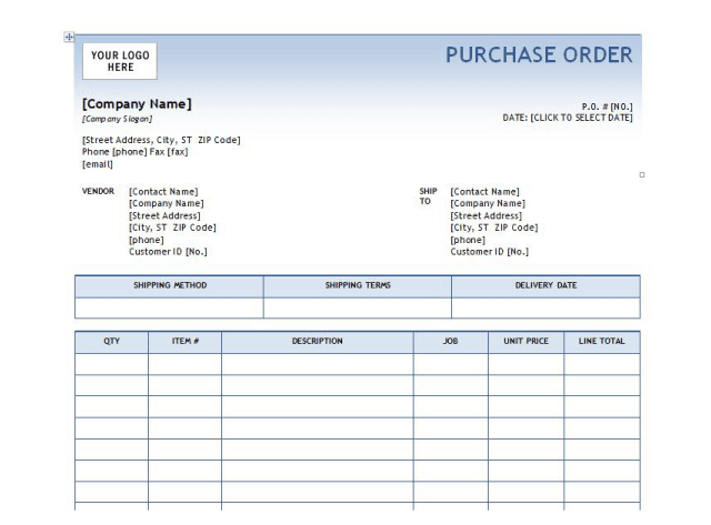 6 Excel Purchase Order Templates Word Templates