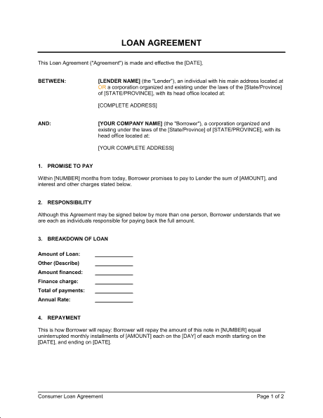 5  Sample Loan Agreement Forms  U2013 Word Templates