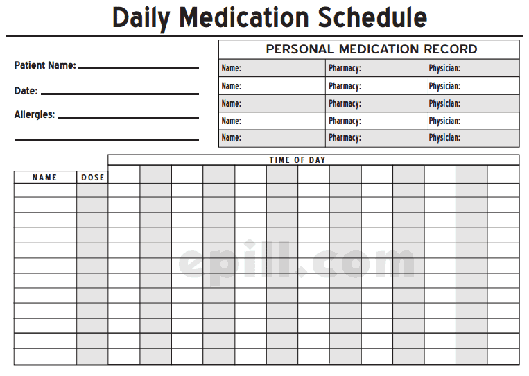 It's just a picture of Free Printable Medication Log inside prn medication