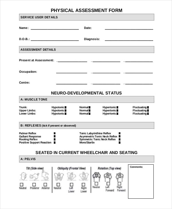 5  Physical Assessment Forms  U2013 Word Templates