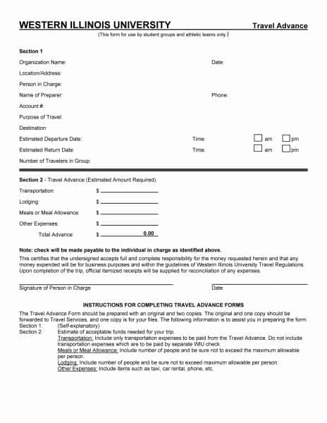 5 Travel Advance Request Forms Word Templates