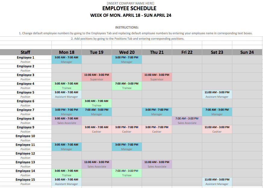 6 Employee Shift Schedule Templates Word Templates