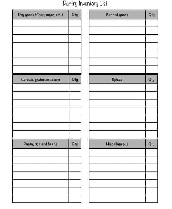 Pantry Inventory List Template 154 S