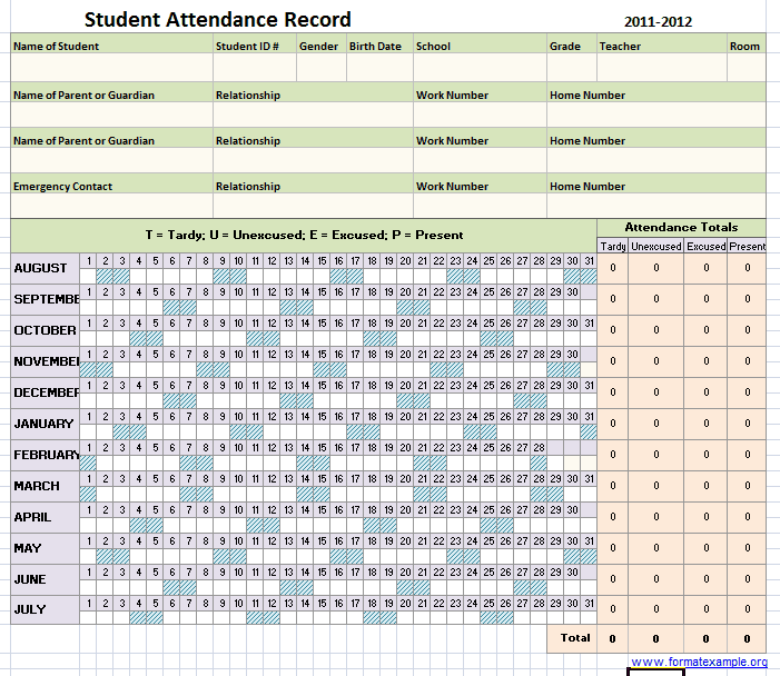 5 Student Attendance Record Templates Word Templates
