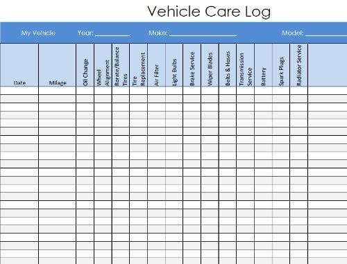 5  vehicle service record log templates
